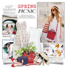 """Picnic In Blue,White And Red"" by thewondersoffashion ❤ liked on Polyvore featuring self-portrait, MICHAEL Michael Kors, Eugenia Kim, Chloé, Alexandre Birman and Club Monaco"