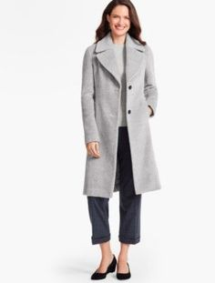 Single-Breasted Luxe Brushed Wool Coat - Talbots