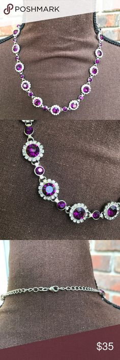 Purple Gemstone & Silver Rhinestone Necklace NWOT | Excellent Condition | Purple Gemstone | Silver Rhinestone | Silver Hardware | Matching Bracelet Available | Adjustable | Length: 8-10ins | Jewelry Necklaces