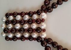 Pearls (9mm) and Garnet (8mm) combination necklace with black grosgrain ribbon Lanvin or Marni style by almikor on Etsy