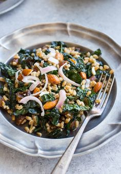 Farro Kale Salad with Pickled Almonds and Shallots - Making Thyme for Health Vegetarian Recipes Dinner, Lunch Recipes, Dinner Recipes, Kale Salad, Soup And Salad, Pickled Shallots, Mustard Dressing, Dried Apricots, Menu Planning