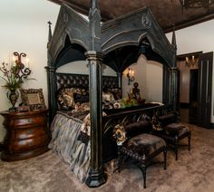 stunning gothic bedroom design and decor ideas 38 Decor, Goth Home, Home, Bedroom Design, Tuscan Decorating, Mediterranean Home Decor, Gothic Bedroom, Interior Design, Gothic Bed