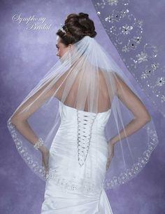 two-tier cathedral wedding veil embellishment | Home Veils Wedding Veils Symphony Bridal 6112VL Fingertip Wedding Veil