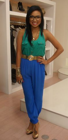 Green Top | Blue Pants | Gold Accessories | (Jeannie Mai)
