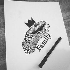 #draw #drawing #illustrator #illustration #linework #black #blackworkers #ink #paper #print #sketch #flashtattoo #tattoo #charlesburns #hydeomega #snake #venom #poison #family #crown #darkartists #theblacksketch