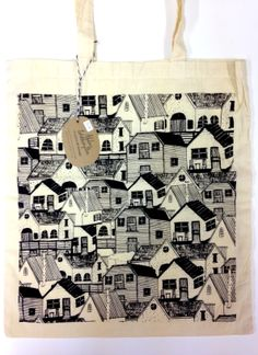 Screen-Printed 'Houses' Tote Bag by Abbey Withington theprintroomshop.co.uk #illustration #print #screenprint #tote #bag #yorkshire
