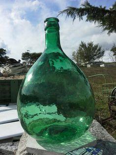 """15,35"""" Vintage Green Glass Demijohn, Italian Vintage Demijohn 1940's"""
