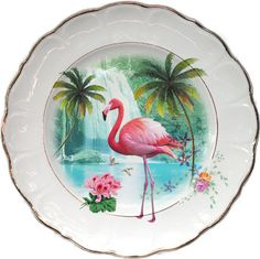 Pink flamingo in paradise - Altered Antique Porcelain Plate on Etsy, $55.94