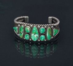 Turquoise Bracelet Carico Lake Sterling Navajo Cuff