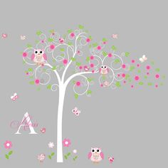 Cute whimsical swirl tree nursery vinyl decal.Great addition to any nursery,playroom,kids room for girl or boy.    SIZE   Tree 80h x 70    INCLUDES