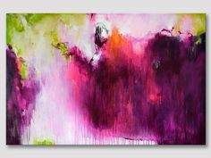 """""""Rubies"""" Original fine art acrylic painting on stretched canvas. A large Abstract in bold colours of bordeaux fuchsia, yellow-green 