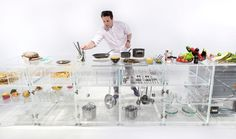 """Photography by Martin Rijpstra, MVRDV MVRDV have designed a transparent kitchen that's currently on display at the 2016 Venice Architecture Biennale. Photography by Martin Rijpstra, MVRDV """"If we imagine everything is transparent clear and clean, [. Yanko Design, Küchen Design, Design Trends, House Design, Design Room, Interior Design, Glass Kitchen, Kitchen Decor, Open Kitchen"""