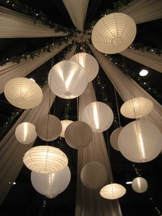 Paper lanterns in bulk from Oriental/ Hanging from ceiling (above wedding party tables or dessert tables Paper Lantern Lights, Hanging Lanterns, Paper Lanterns, Paper Lantern Chandelier, Marquee Wedding, Tent Wedding, Marquee Decoration, Aisle Decorations, Lantern Light Fixture