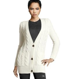 H Cardigan $24.95 Cable-knit cardigan with buttons and front pockets.