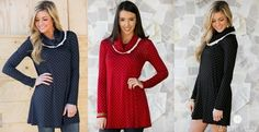 """Feel fashionable, feminine, and fun in the Alexa Polkadot Tunic! This super soft tunic has that classic polkadot print but with a stunning crochet detailed cowl-neck for added design. Sleeves are fitted while the body has a more relaxed fit. Wear on its own with booties or style for cold weather with leggings and boots. Available in 4 classic colors!Colors AvailableBlackMochaNavyRed Sizes AvailableSmall (0-4)Medium (6-8)Large (10-12)Women's SizingModels are 5'6"""" ..."""