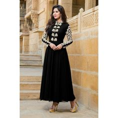 Native Palace Black Color Attractive Embroidary Gown