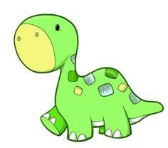 Amazon.com - Children's Wall Decals - Cartoon Green, Blue Baby Dinosaur - 12 inch Removable Graphic