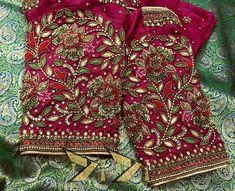 Pink Saree Blouse, Saree Blouse Neck Designs, Bridal Blouse Designs, Mirror Work Blouse, Maggam Work Designs, Designer Blouse Patterns, Indian Designer Wear, Maggam Works, Siri