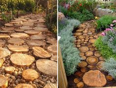 Garden Ideas Use Tree Stumps to Decorate Backyard Tree Stump Decor. Tree Stump Decorating Ideas. Tree Trunk Slices.