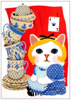 Jetoy Cat Blue China Postcard