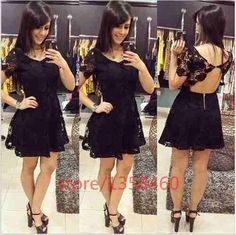 vestido feminino de renda curto renda preto moda jovem sexy