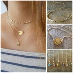 Layered Gold Necklaces Set Of 3 Personalized Disc by annikabella