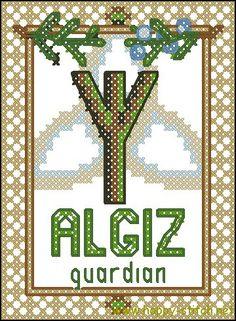 Rune Algiz free cross stitch pattern #tuesdayfreebie