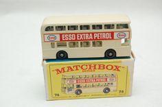 No. 74b Daimler Fleetline Double Decker Bus w/Original Box Cream ESSO gas 1966 by Matchbox Lesney toy Car Great Gift Stocking Stuffer by RememberWhenToys on Etsy