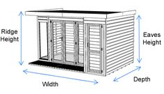 12 x 8 Waltons Contemporary Summerhouse with Side Shed (RH) | Waltons Sheds