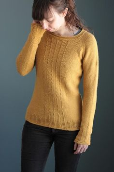 """Brassica Pullover is a seamless top-down raglan sweater using worsted-weight yarn. It features an easy textured stitch pattern along the front of the sweater as well as the wrists, giving the sweater some visual interest. A classic silhouette, this sweater has a little bit of waist shaping and can be easily altered to be shorter or longer in length.Pattern Information:Finished Bust: 35.5 (38.25, 41, 44, 47, 49.75, 52, 54.25)"""" / 90 (97, 104, 112, 119, 126, 132,138) cm (Size in photograph is…"""