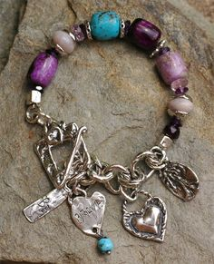 Be Brave, Strong and Courageous...  Sugilite in various shades Old Stock Nacozari Turquoise Pink Amethyst Dark Purple Amethyst Garnet nugget (1) Lavender Chalcedony Handcrafted Sterling Silver Charms and Toggle