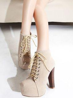 Wholesale Charming & Trendy Velvet Tieback High-heeled Short Boots----Apricot  top dresses