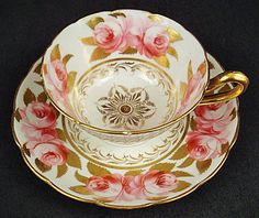Lovely Antique Tea Cup  Saucer, Pink Roses