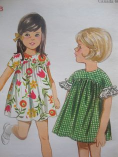 #vintage 1960s retro MOD butterick #sewing #pattern girls DRESS high yoke curved seam SIZE 4 uncut