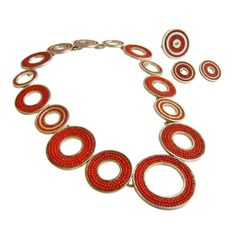Sterling Silver and Coral Necklace Ring and Earrings Set, Circa 1970