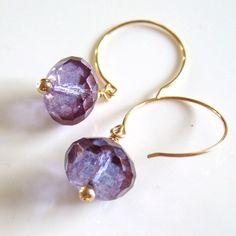 Amethyst Czech Crystal Handmade Bead Earrings w/ gold-filled wire | CrystalBazaar - Jewelry on ArtFire