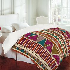 Ethnic Stripes Duvet Cover by Valentina Ramos