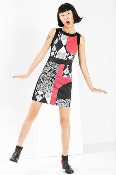 Desigual Boat neck, short pinafore dress. Discover women's fashion with attitude!