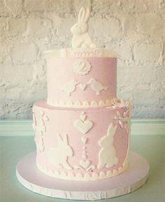 Pastel Pink Bunny Themed Birthday Cake