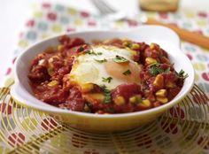 Unser beliebtes Rezept für Tomaten-Shakshuka mit Mais und mehr als 55.000 weitere kostenlose Rezepte auf LECKER.de.