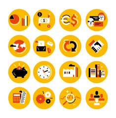 design of icons for a book cover about economy.