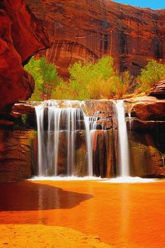 Waterfall In Coyote Gulch, Utah, USA. Photograph - Waterfall In Coyote Gulch Utah Fine Art Print Beautiful Waterfalls, Beautiful Landscapes, Places To Travel, Places To See, Travel Destinations, Places Around The World, Around The Worlds, Magic Places, Les Cascades