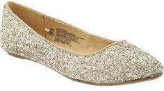 Women's Glittery Pointed-Toe Flats. Perfect for the holidays or brightening up January and February.