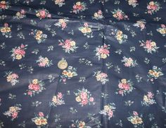 "Marcus Bros Textiles Polished Cotton Chintz Navy Blue Pink Yellow Floral Rose Clusters 4 1/2 yards x 45"" New Unused by myrustygold on Etsy"