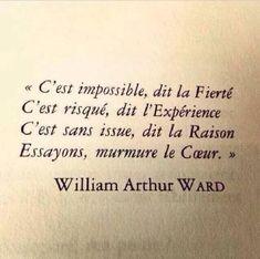 C'est impossible, dit la Fierté C'est risqué, dit l'Expérience C'est sans issue, dit la Raison Essayons, murmure le Coeur. - William Arthur Ward