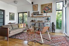 Salle de séjour avec kilim rug, Salle de séjour de style boho, boho chic pour la maison