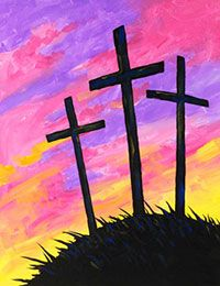 Paint an Easter cross sunrise silhouette for a canvas painting party. #socialartworking