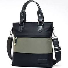 Double Colors Patchwork Zipper Men's Bag for male Army Green Size:M
