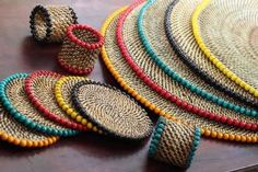 Round Coasters with Beads- Quintessentials- North Hills, Raleigh NC – DIY Home Decor Rope Crafts, Flower Crafts, Twine Crafts, Basket Weaving, Hand Weaving, Woven Baskets, Sisal, Beading Patterns, Crochet Patterns