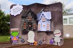Donna Wright using the Pop it Ups House Pivot Card and Holiday House dies by Karen Burniston for Elizabeth Craft Designs. - Old Red Shed: Karen Burniston spooky September halloween card 2#
